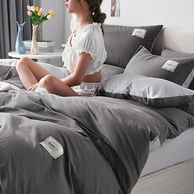 2021新款水洗棉贴布绣亲肤四件套 1.5m床 床单款小号四件套 Q深灰+浅灰