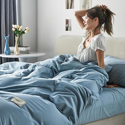 2021新款水洗棉贴布绣亲肤四件套 1.5m床 床单款小号四件套 Q小清新