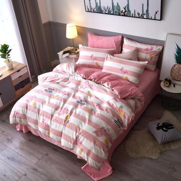 新款A版全棉B版水晶绒四件套 1.2m 床(床单三件套) 爱丽丝 粉
