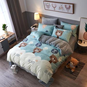 新款A版全棉B版水晶绒四件套 1.2m 床(床单三件套) 时尚熊宝