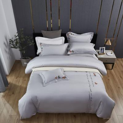 2019新款60S长绒棉贡缎绣色系列四件套 1.5m(5英尺)床 爱丽丝