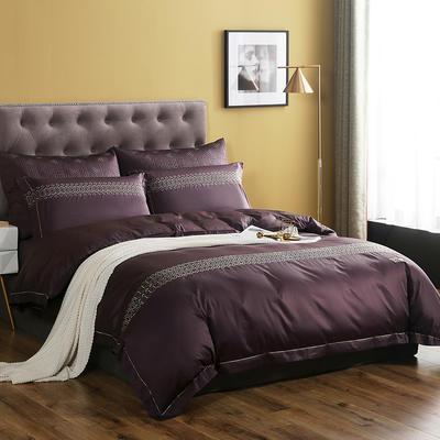 2019新款60S长绒棉贡缎系列2四件套 1.5m床单款四件套 熙格玛.紫