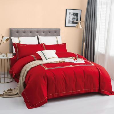 2020新款60S长绒棉绣色尤克里系列四件套 1.8m床单款四件套 尤克里 红