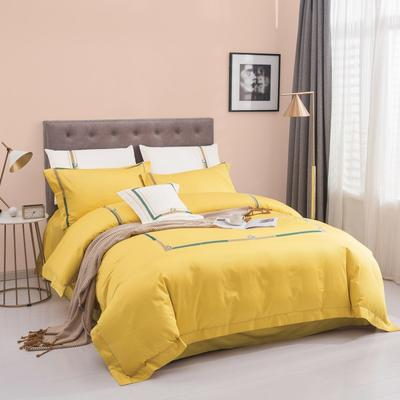 2020新款60S长绒棉绣色尤克里系列四件套 1.8m床单款四件套 尤克里 黄