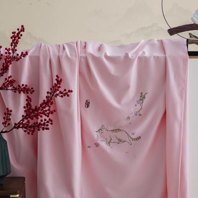 2020新款60S长绒棉贡缎如意绣色系列四件套 1.8m床单款四件套 如意•懒猫