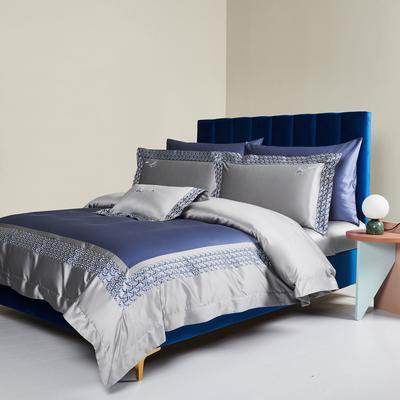 2020新款140S长绒棉贡缎四件套-奢华绣色系列 1.8m床单款四件套 香颂.蓝