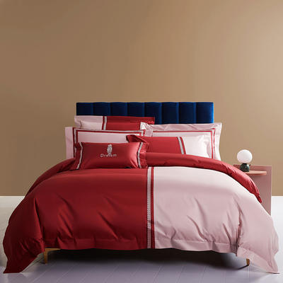 2020新款100S长绒棉四件套-轻奢绣色系列 1.8m床单款四件套 柏拉图(红)
