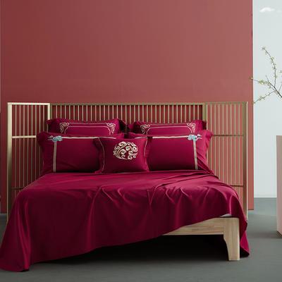 2020新款60S长绒棉四件套-古风系列 1.8m床单款四件套 金如意(红)