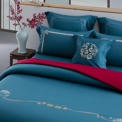 2020新款60S长绒棉四件套-古风系列 1.8m床单款四件套 金如意(蓝)