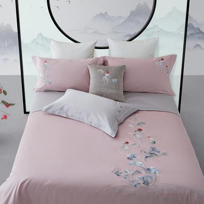 2019新款100S中国风禅系列四件套 1.8m(6英尺)床 鸿运当头.珊瑚红