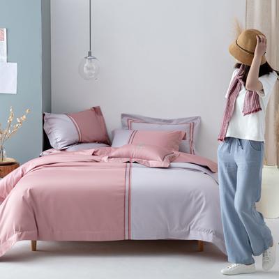 2020新款100S长绒棉四件套-轻奢绣色系列 1.8m床单款四件套 柏拉图(粉)