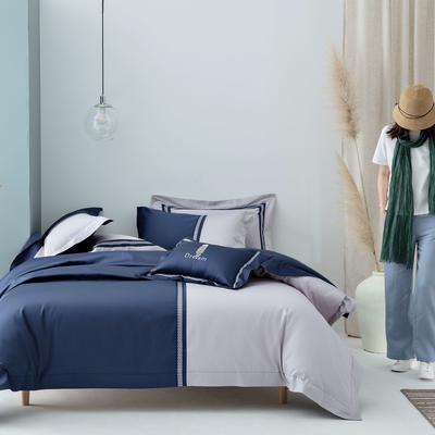 2020新款100S长绒棉四件套-轻奢绣色系列 1.8m床单款四件套 柏拉图(深蓝)
