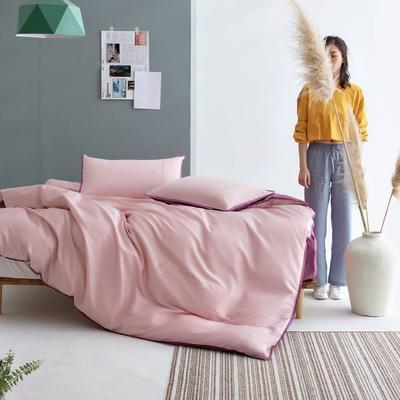 2020新款60S长绒棉贡缎四件套-撞色绣色系列 1.8m床单款四件套 慕莎粉