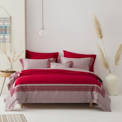 2020新款140S长绒棉贡缎四件套-奢华绣色系列 1.8m床单款四件套 香颂.红