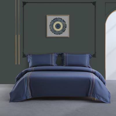 2020新款-50S双股全棉轻奢绣色四件套系列 1.8m床单款四件套 班得瑞(蓝)