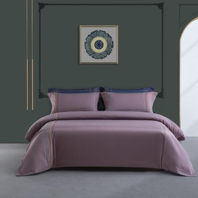 2020新款-50S双股全棉轻奢绣色四件套系列 1.8m床单款四件套 班得瑞(紫)