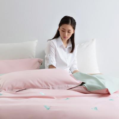 2020新款-60S长绒棉贡缎轻奢绣色四件套系列 1.8m床单款四件套 玉芳菲(粉)