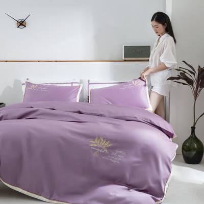 2020新款-60S长绒棉贡缎轻奢绣色四件套系列 1.8m床单款四件套 大麦.安娜紫