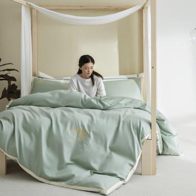 2020新款-60S长绒棉贡缎轻奢绣色四件套系列 1.8m床单款四件套 大麦.古翠绿