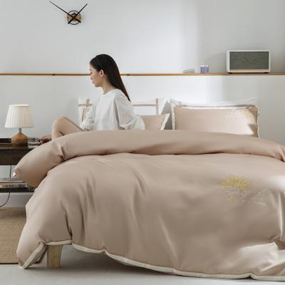 2020新款-60S长绒棉贡缎轻奢绣色四件套系列 1.8m床单款四件套 大麦.流沙金