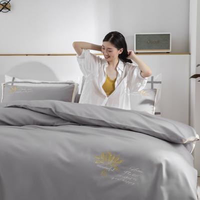 2020新款-60S长绒棉贡缎轻奢绣色四件套系列 1.8m床单款四件套 大麦.气质灰