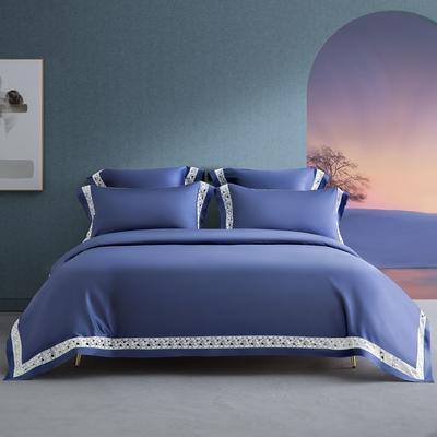 2020新款140支轻奢长绒棉绣色系列四件套 1.8m床单款四件套 39 可颂•皇室蓝