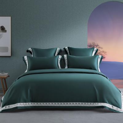 2020新款140支轻奢长绒棉绣色系列四件套 1.8m床单款四件套 39 可颂•玛瑙绿