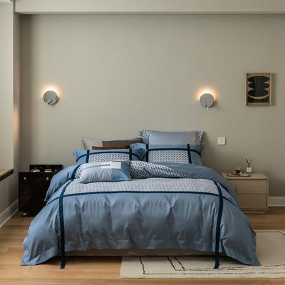 2021新款宝格丽四件套 1.8m床单款四件套 蓝