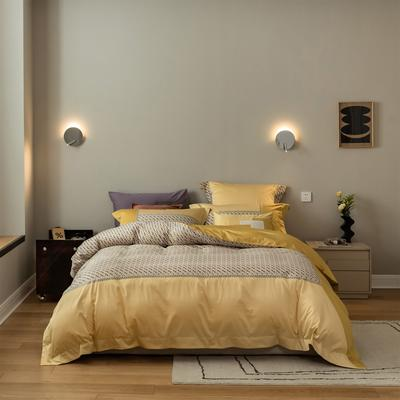 2021新款铂尔曼系列四件套 1.8m床单款四件套 黄