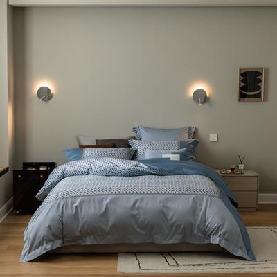 2021新款铂尔曼系列四件套 1.8m床单款四件套 蓝