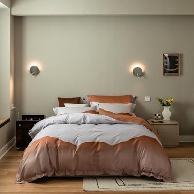 2021新款-100s数码印花四件套 1.8m(6英尺)床 画卷橙