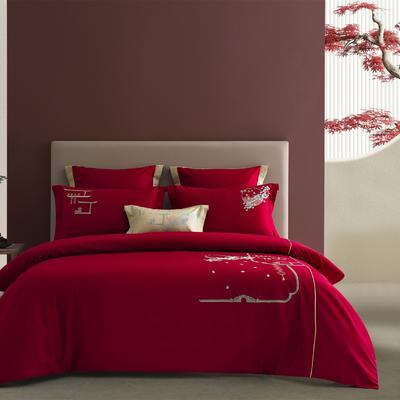 2021新款-新中式60s长绒棉贡缎秀色系列 1.8m(6英尺)床 步步高升(红)
