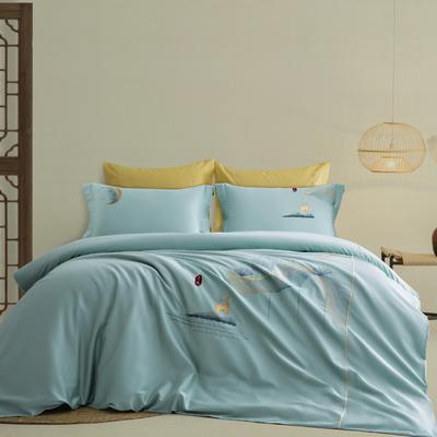 2021新款-新中式60s长绒棉贡缎秀色系列 1.8m(6英尺)床 开运 蓝