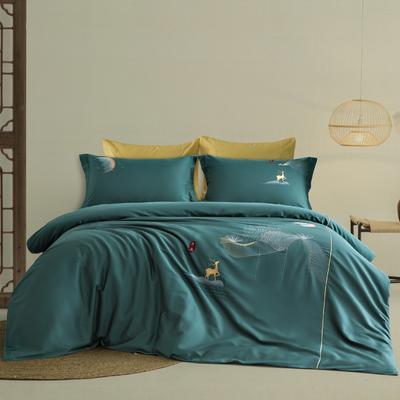 2021新款-新中式60s长绒棉贡缎秀色系列 1.8m(6英尺)床 开运 绿