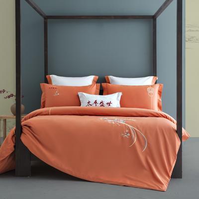 2021新款-新中式60s长绒棉贡缎秀色系列 1.8m(6英尺)床 太平盛世(橙)