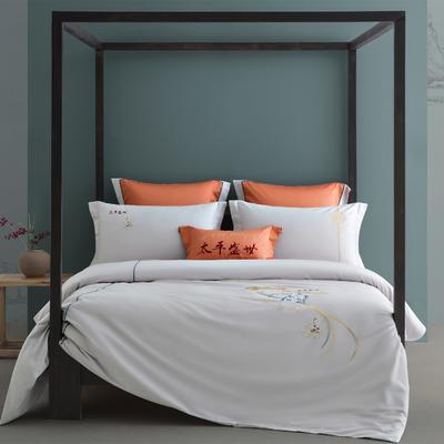 2021新款-新中式60s长绒棉贡缎秀色系列 1.8m(6英尺)床 太平盛世(灰)