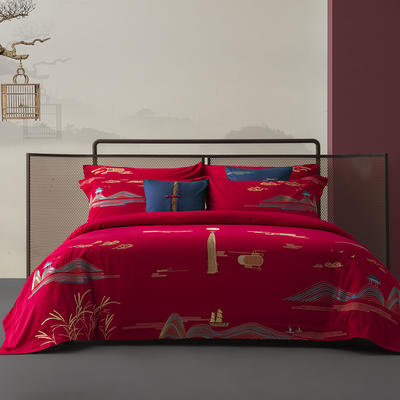 100S长绒棉新中式婚庆系列-风情月意 1.8m(6英尺)床 方垫