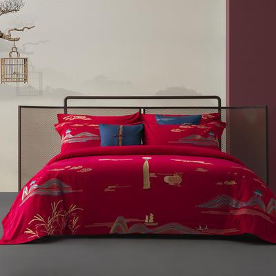 100S长绒棉新中式婚庆系列-风情月意 1.8m(6英尺)床 大靠垫