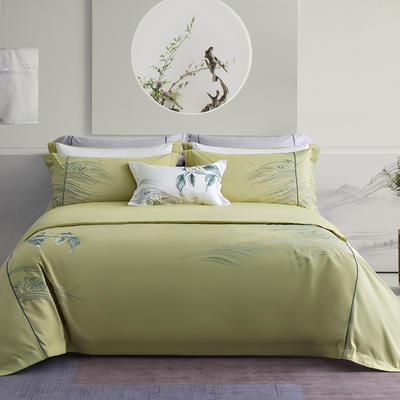 100S长绒棉新中式系列--畅游 1.8m(6英尺)床 畅游(草绿)