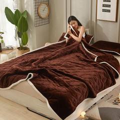 2018新款多功能休闲复合毯 盖毯毛毯 休闲毯 48*74枕套/只 深咖