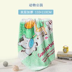 婴儿毛毯双面绒双层加厚冬季 小孩宝宝绒柔软毛毯 110*110cm 动物公园