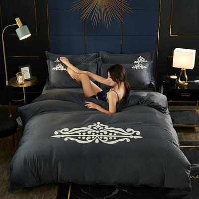 2019水晶绒毛巾绣四件套 1.8m床单款四件套 卡米拉灰色