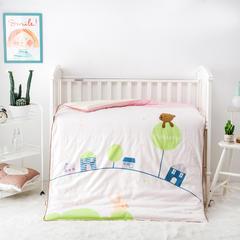 2018新款-儿童床上用品被子纯棉双层纱活套绣花被 1.2m(4英尺)床 秋冬款丝绵被