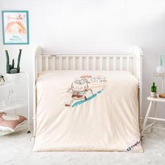 2018新款-儿童床上用品纯棉双层纱绣花四季被 1.2m(4英尺)床 欢乐童年黄丝绵被子