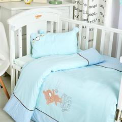 2018儿童被子纯棉绣花冬被宝宝被子冬季保暖加厚婴儿被子童被120-150cm 1.2m(4英尺)床 棉花被子蓝