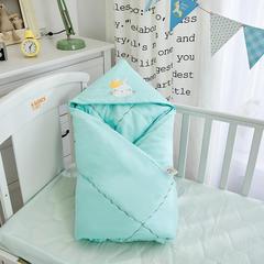 2018婴儿抱被纯棉宝宝包被新生儿抱被子儿童盖被冬被绣花童被100*100cm 1.0m(3.3英尺)床 棉花方被(无帽子)皇冠兔-蓝色