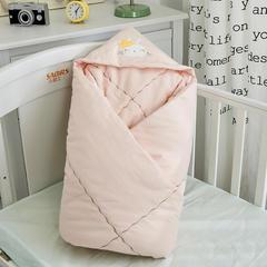 2018婴儿抱被纯棉宝宝包被新生儿抱被子儿童盖被冬被绣花童被100*100cm 1.0m(3.3英尺)床 单夹棉抱被皇冠兔-玉色