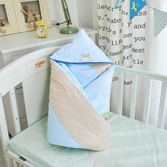 2018婴儿抱被纯棉宝宝包被新生儿抱被子儿童盖被冬被绣花童被100*100cm 1.0m(3.3英尺)床 棉花方被(无帽子)快乐河马-蓝色