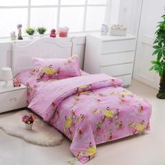 纯棉单人儿童卡通三件套 学生床品三件套单人宿舍床上用品 1.0m(3.3英尺)床 粉色公主