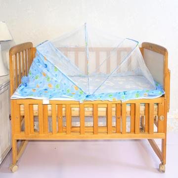 婴儿蚊帐罩可折叠蒙古包式宝宝纹帐新生儿小孩儿童无底防蚊罩通用 鲸鱼蓝